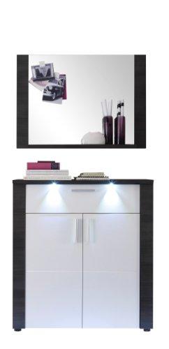 trendteam XP91610 Garderobe Garderoben Set 2-teilig Esche grau Nachbildung, Fronten weiß Nachbildung, BxHxT 89x184x38 cm