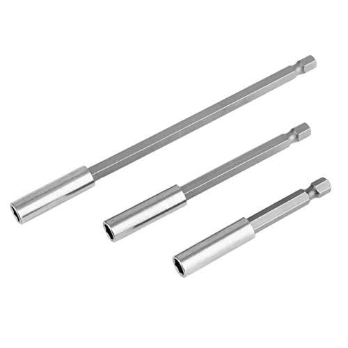 3pcs Sechskantschaft Magnetbohrer Verlängerungsstecker 3 verschiedene Arten Schraubendreher Verlängerungsbohrer Bohrer Set - silbrig weiß