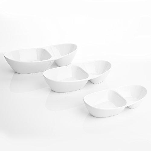 Series Special.Shape 3-Piece 7.8//9.8//11.5 Two Compartments Bowls China Ceramic Cream White Porcelain Partition Plates MALACASA