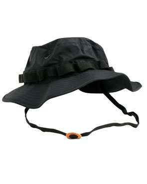 Miltec Boonie Hat Hut Busch Jungle US Army Commando Trooper - Farbe Black Panther - breiter Bund Airsoft Paintball Jagd - Fischerei - Wandern - Outdoor -