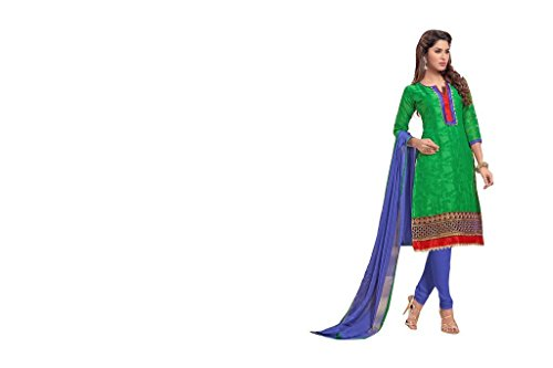 Viva N Diva Women's Green Color Pure Jacquard Straight Cut Embroidered Salwar...