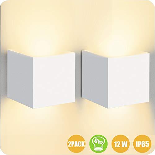 LEDMO Applique Murale Interieur 12w Blanc Chaud 3000K 2Pièces丨 Applique Exterieur Etanche IP65 Up Down Design Moderne丨Applique Murale LED pour Escalier,Chemin,Chambre