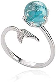 Princess of Ocean Mermaid Sterling Silver Blue Crystal Adjustable Free Size Open Ring