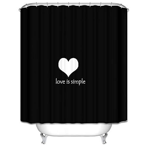 MaxAst Cortinas de Baño Negro Cortinas de Baño Corazón Love is Simple Cortina de Ducha de Poliester Cortinas de Baño Antimoho Cortina Baño 180x180CM