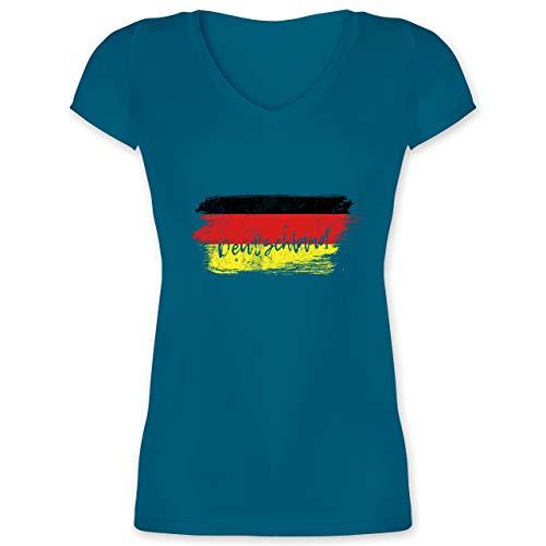 Handball WM 2019 - Deutschland Vintage - XS - Türkis - XO1525 - Damen T-Shirt mit V-Ausschnitt