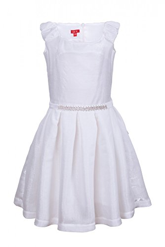 La-V Festliches Mädchenkleid weiß,1 Haarschmuck/Größe 170 (Kleid Mädchen Glitzernden)