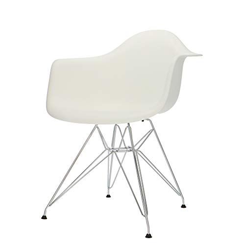 Popfurniture POP Designer DAR-Stuhl mit Armlehne - Esszimmerstuhl, Wohnzimmerstuhl, Bürostuhl aus Kunststoff und Edelstahl-Gestell | 63 x 60 x 83 cm | Weiß