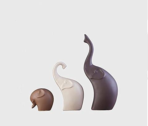 LI JING SHOP- (1 Set Of 3) Creative Strokes Like Home Décoration Salle de séjour Vin Cabinet Entrée Décoration Intérieur Doux Installation Céramique Artisanat Elephant Furnishings