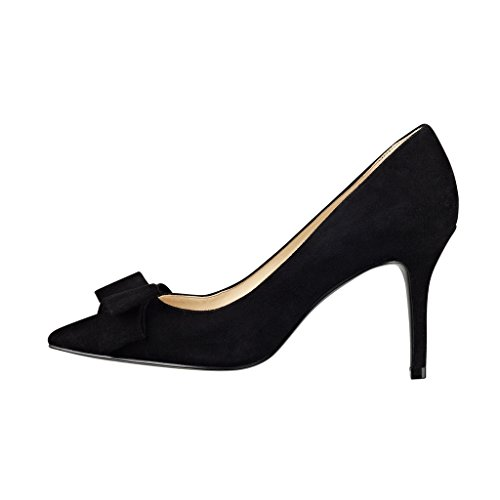 Kolnoo 80mm Senhoras Camurça Estilete Apontado Bombas Com Clássico Bowknot Sapatos Pretos