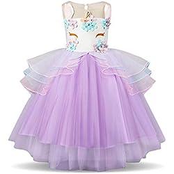 NNJXD Vestido Unicornio de Flor Volantes de Boda y Fiesta Princesa Muchacha Talla (110) 4-5 Años Púrpura