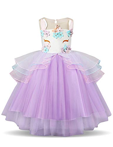NNJXD Mädchen Einhorn Blume Rüschen Cosplay Party Hochzeit Prinzessin Kleid Größe (100) 3-4 Jahre Lila