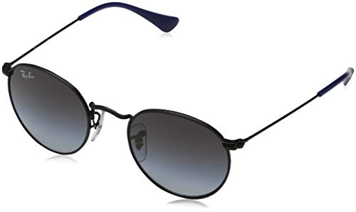 RAYBAN JUNIOR Unisex-Kinder Sonnenbrille Round Metal Junior Matte Black/Lightgreygradientdarkgrey, 44