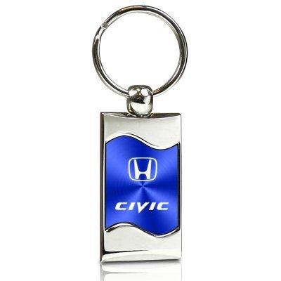honda-civic-blue-spun-brushed-metal-key-chain
