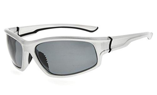 Eyekepper Sports Polycarbonat Polarisierte Sonnenbrille TR90 Unzerbrechliche Baseball Laufen Angeln Fahren Golf Weicher Ball Wandern, Silber rahmen Grau Linse (Baseball Sonnenbrillen Silber)