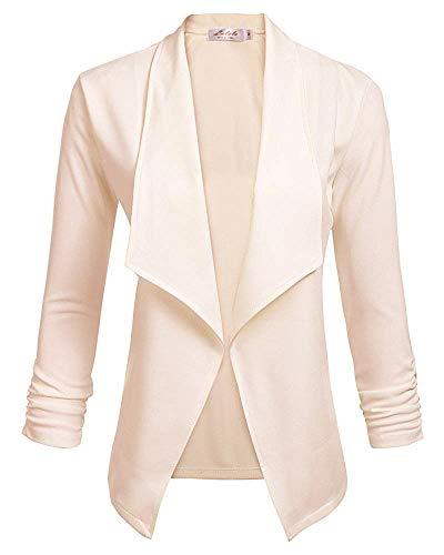 Damen Blazer Tailliert Kurz Elegante Langarm Slim Business Büro Jäckchen Anzug Casual Kurzblazer Mantel Jacke Oberteil 2-Khaki S -