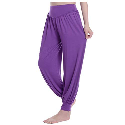 Fauhsto Women's Yoga Trousers Soft Yoga Harem Pilates Pants Womens Lounge Leggings Harem Pants Modal Spandex Harem Yoga Pilates Pants Trousers Baggy Trousers - Wide Leg Cuff Hose