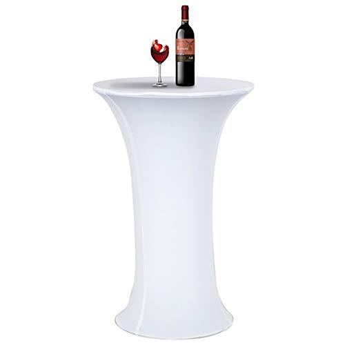 Tischdecke, Acelectronic Stretchy Tischhussen für Stehtische/Bistrotisch/Tischdurchmesser Ø 80-85cm in Weiß - Tisch Husse für Feiern Veranstaltungen Hochzeit Dekoration - Eleganter Tischüberzug (Ø 80-85cm, Weiß)