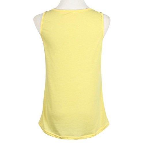 Amlaiworld 2016 Frau Sonne gedruckt Bluse ärmellose Weste Hemd Bluse gelb