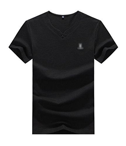 Männer Sommer Jugend Dünne Dünne V-Ausschnitt Baumwolle Casual Kurzarm T-Shirt,Black-S (Zeit T-shirt Jugend)