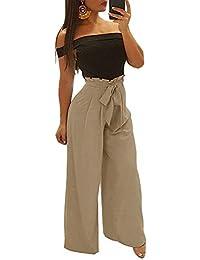 fe1aa89d3ce24 Minetom Femme Casual Taille Haute Solide Jambe Large Bas Évasé Pantalon  Élégante Baggy Jupe-Culotte