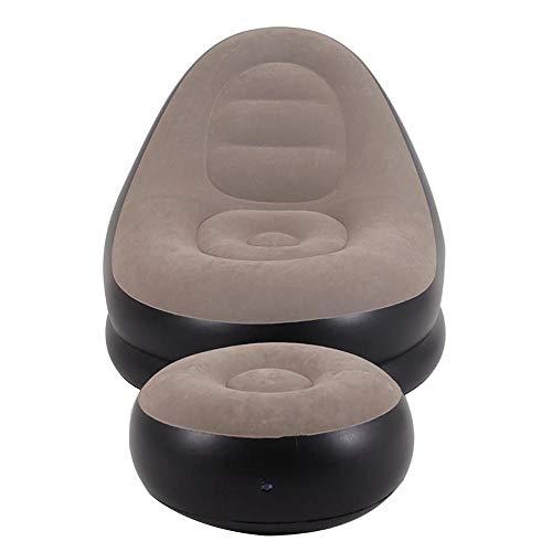 Divano pigro | poltrona gonfiabile con poggiapiedi | divano per il tempo libero tatami | divano letto singolo a letto singolo caricabile 150 kg (design : with manual pump)