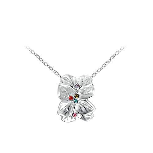 AnazoZ Vergoldet Lady Platinum Rose Petal Anhänger Diamond Halskette Farbe Silber Platinum Petal