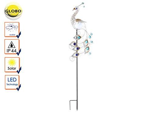 floristikvergleich.de LED Garten Solar Leuchte Metall Kupferfarbe Pfau Design Steh Lampe Globo 33309S