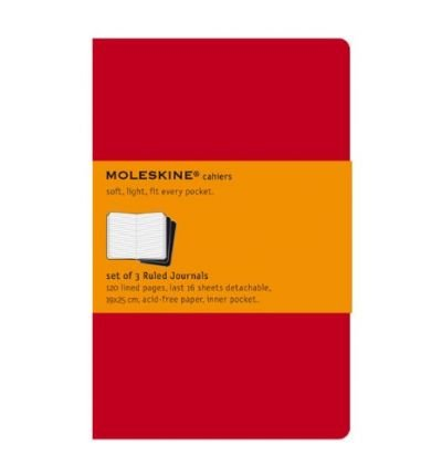 MOLESKINE RULED CAHIER JOURNAL X-LARGE, RED BY MOLESKINE[HARDCOVER]