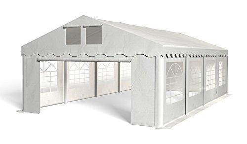 Royal Catering Pavillon Partyzelt Faltpavillon RCPT 5/8W (5x8 m, 40m², bis 500 g/m² wasserdicht, 8 Sichtfenster, 2 Belüftungsfenster, UV- und Ölresistent) Weiß