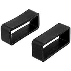 Cewaal Correa de reloj Bucle de banda de reemplazo de caucho negro Sostenedor de la hebilla del retenedor 18mm / 20mm / 22mm / 24mm