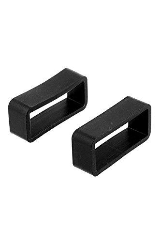 Cewaal Montre bracelet Boucle de bande de rechange en caoutchouc noir Porte-boucle retenue 18mm / 20mm / 22mm / 24mm