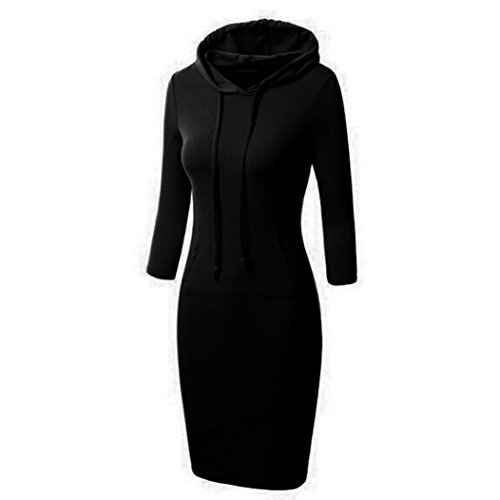 dress Koly Le donne con cappuccio vestito casuale a maniche lunghe (S, Nero)