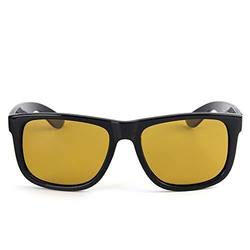 Herren Vintage Large Frame Sonnenbrille Polarisierte Sonnenbrille Für Brille (Farbe : Clear Black Frame/Yellow Lens)