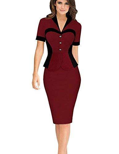 Party Kragen (Minetom Damen Elegante Bodycon V Kragen Flouncing Spitzen Party Kleid Cocktailkleid Business Stretch Kleid (DE 46, Weinrot 2))