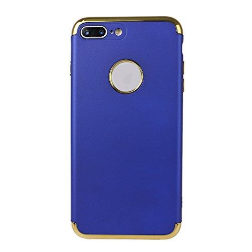 iPhone 7 Plus Hartschale, iPhone 7 Plus 3 in 1 Hülle, iPhone 7 Plus Full Body Case, Moon mood® 3 in 1 Anti-Fingerprint Kratzfeste Kunststoff Harte Rückseite Case Bumper Schutzhülle für Apple iPhone 7  Blau