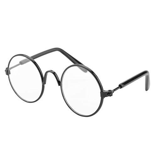 Pet Sonnenbrille Nette und lustige Katze Sonnenbrille Klassische Runde Metall Brille Mode Pet Photos Requisiten für kleine Hunde Katzen(Black Frame+Clear Glass)