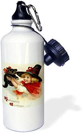 Niedliche Hexe Kostüm Frauen - GFGKKGJFD624 Halloween-Wasserflasche, niedlich, Mädchen, Kostüm, Halloween, Trick oder Leckerlis, Hexe, Aluminium, Sport-Wasserflasche, lustig, für Männer und Frauen, Kinder