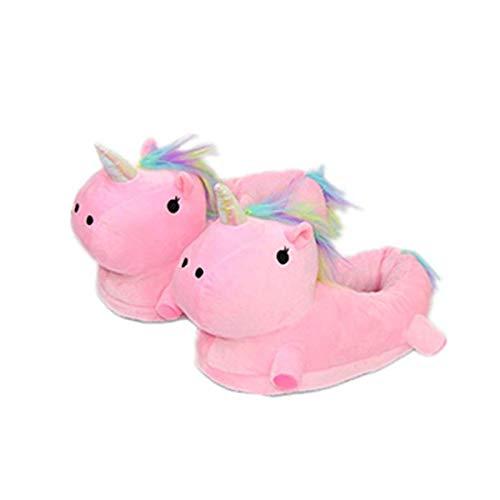 Zapatillas de Estar por casa, Unicornio Felpa Suave Calentar Zapatillas Zapatos Mujer niña Invierno Peluche para Adulto niño (25-33 EU, Rosa)