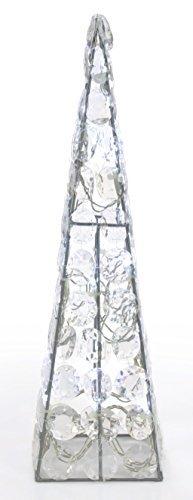 LED Kristall Pyramide Metall Silber 24 LED Weiß, Weihnachtsdeko Fenster, Dekoration Weihnachten Weihnachtsbeleuchtung Innen Leuchtpyramide