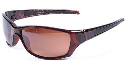 Männer Fahren Sonnenbrille Schildkröte Braun Wrap 100% UV 400 Schutz Blockieren Blaues Licht Objektiv + Fall und Tuch