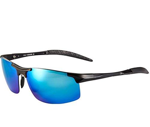 SUN^GLASSES SONNENBRILLEN Neue Elegante Optische Offset Sonnenbrillen Herren Sonnenbrillen Aluminium Magnesium Fahrer Spiegel, Black Box/Blue Chip