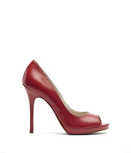 PoiLei Klassische Peep-Toes Pumps High-Heels Damen Mira mit Stiletto-Absatz Echt-Leder Rot