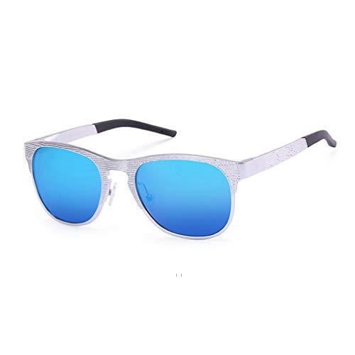 Sonnenbrille Polarisierte Retro Metall Runde Rahmen Fahren Im Freien Männer Und Frauen HD Anti-UV-Strahlung Kann Mit Myopie Linsen Ausgerüstet Werden (Farbe: Silber Rahmen Blaue linse)