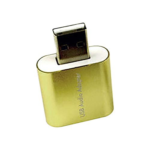 YUnnuopromi Virtueller 7,1 Kanal Mikrofon-Konverter-Adapter Externe USB-Audio-Sound Karte Golden