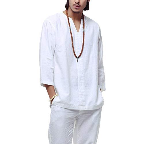 Herren Casual Einfarbig V-Ausschnitt 3/4 Ärmel Lose Kragenlose Baumwolle Leinen T-Shirt Tops Bluse (XL, Weiß)