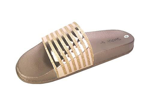 Siebi's Pisa Badeschuhe Damen modische Fußbett-Pantolette: Größe: 39 EU | Farbe: Gold
