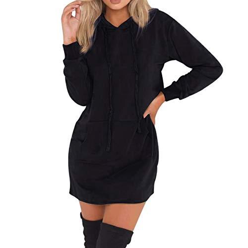 MIRRAY Damen Winter Lang Pullover Solide Langarm mit Kapuze Hoodies Pullover Sweatshirt Schwarz Kaffee S M L XL XXL (Halloween-kostüme Cute Kawaii)