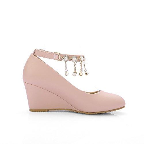 VogueZone009 Damen Schnalle Rund Zehe Mittler Absatz Pu Leder Eingelegt Pumps Schuhe Pink