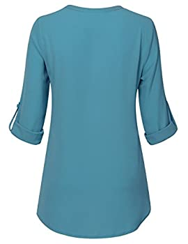 Youtalia Ladies Chiffon Blouses, Womens Casual Chiffon V Neck Cuffed Sleeve Loose Shirt Blouse Tops(dark Cyan,large) 1