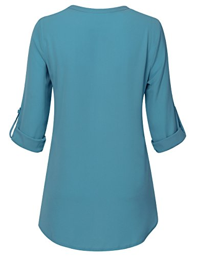 Youtalia Damen Freizeit Chiffon V-Ausschnitt Manschetten-Ärmel Locker Shirt Bluse Oberteile Dunkel Türkis